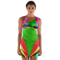 Colorful Abstract Butterfly With Flower  Wrap Front Bodycon Dress