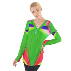 Colorful Abstract Butterfly With Flower  Women s Tie Up Tee
