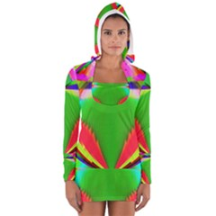 Colorful Abstract Butterfly With Flower  Women s Long Sleeve Hooded T Shirt