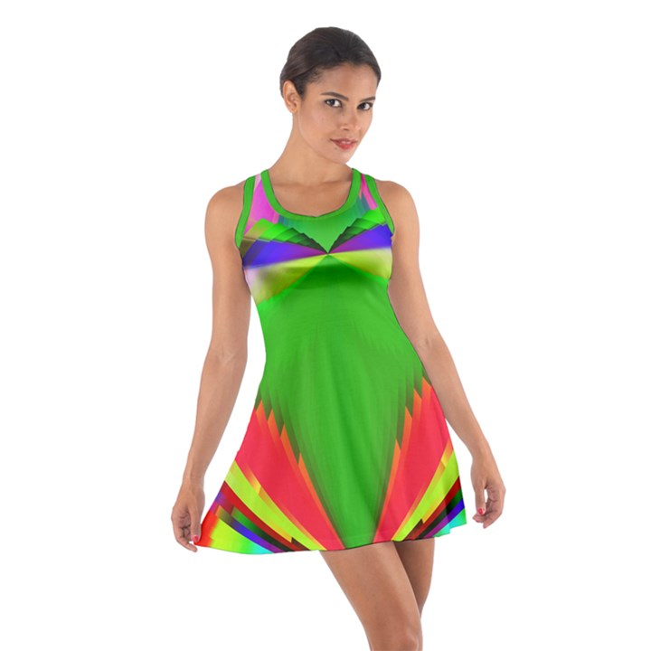 Colorful Abstract Butterfly With Flower  Cotton Racerback Dress