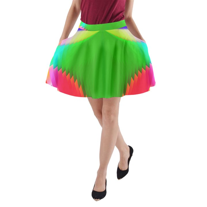 Colorful Abstract Butterfly With Flower  A-Line Pocket Skirt
