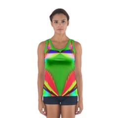 Colorful Abstract Butterfly With Flower  Women s Sport Tank Top