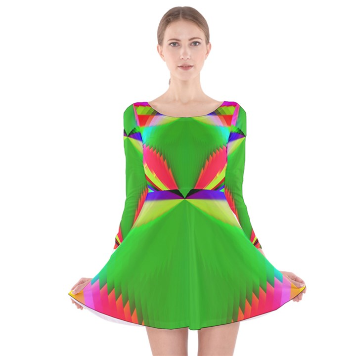 Colorful Abstract Butterfly With Flower  Long Sleeve Velvet Skater Dress