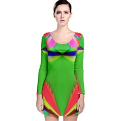 Colorful Abstract Butterfly With Flower  Long Sleeve Velvet Bodycon Dress