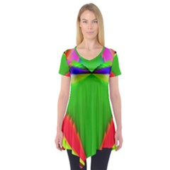 Colorful Abstract Butterfly With Flower  Short Sleeve Tunic