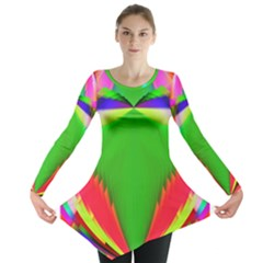 Colorful Abstract Butterfly With Flower  Long Sleeve Tunic