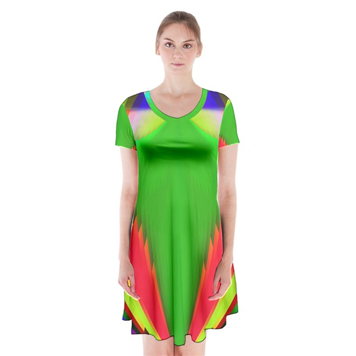 Colorful Abstract Butterfly With Flower  Short Sleeve V-neck Flare Dress