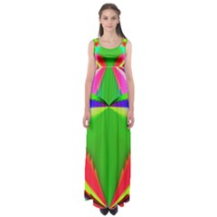 Colorful Abstract Butterfly With Flower  Empire Waist Maxi Dress