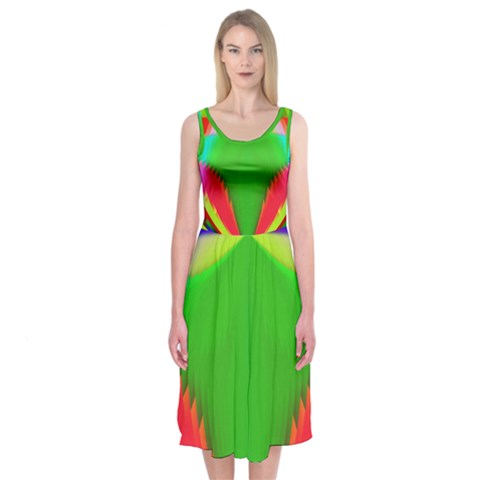 Colorful Abstract Butterfly With Flower  Midi Sleeveless Dress