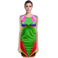 Colorful Abstract Butterfly With Flower  Classic Sleeveless Midi Dress