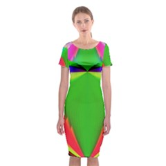 Colorful Abstract Butterfly With Flower  Classic Short Sleeve Midi Dress