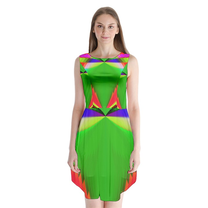 Colorful Abstract Butterfly With Flower  Sleeveless Chiffon Dress