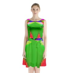 Colorful Abstract Butterfly With Flower  Sleeveless Chiffon Waist Tie Dress
