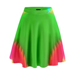 Colorful Abstract Butterfly With Flower  High Waist Skirt