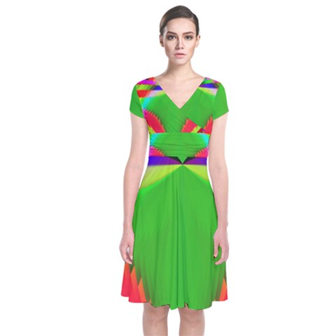Colorful Abstract Butterfly With Flower  Short Sleeve Front Wrap Dress