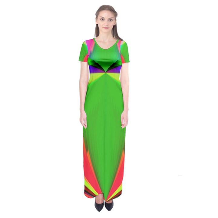 Colorful Abstract Butterfly With Flower  Short Sleeve Maxi Dress