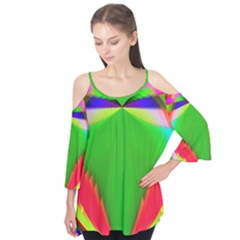 Colorful Abstract Butterfly With Flower  Flutter Tees