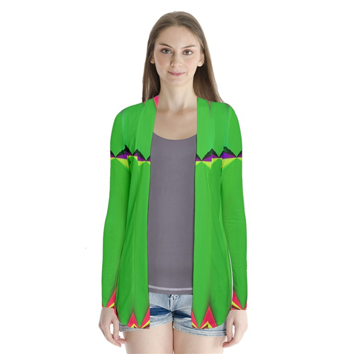 Colorful Abstract Butterfly With Flower  Drape Collar Cardigan