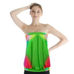 Colorful Abstract Butterfly With Flower  Strapless Top