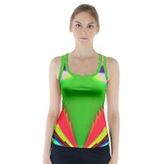Colorful Abstract Butterfly With Flower  Racer Back Sports Top