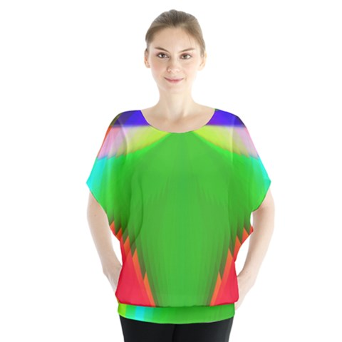 Colorful Abstract Butterfly With Flower  Blouse