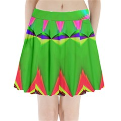 Colorful Abstract Butterfly With Flower  Pleated Mini Skirt