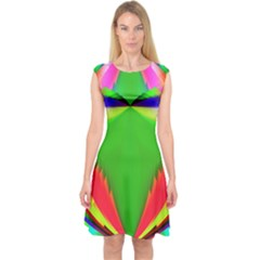Colorful Abstract Butterfly With Flower  Capsleeve Midi Dress