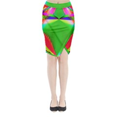 Colorful Abstract Butterfly With Flower  Midi Wrap Pencil Skirt