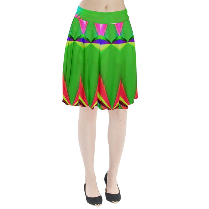 Colorful Abstract Butterfly With Flower  Pleated Skirt