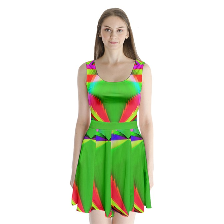 Colorful Abstract Butterfly With Flower  Split Back Mini Dress