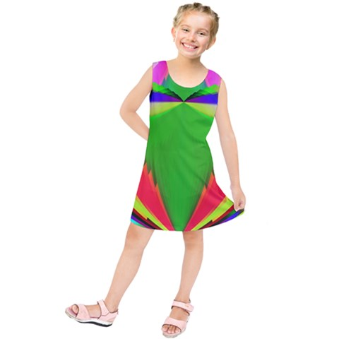 Colorful Abstract Butterfly With Flower  Kids  Tunic Dress