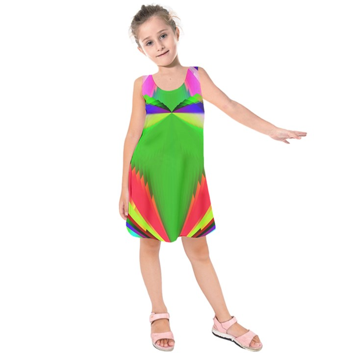 Colorful Abstract Butterfly With Flower  Kids  Sleeveless Dress