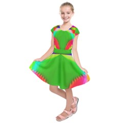 Colorful Abstract Butterfly With Flower  Kids  Short Sleeve Dress