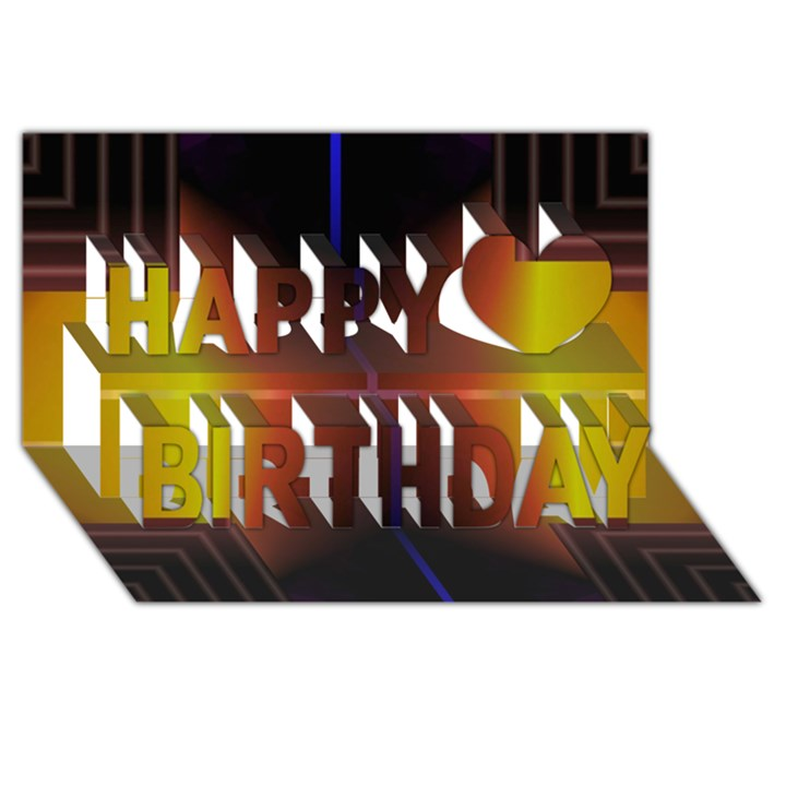Abstract Painting Happy Birthday 3D Greeting Card (8x4)