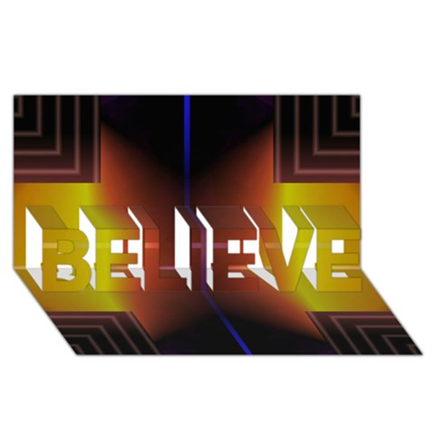 Abstract Painting BELIEVE 3D Greeting Card (8x4)