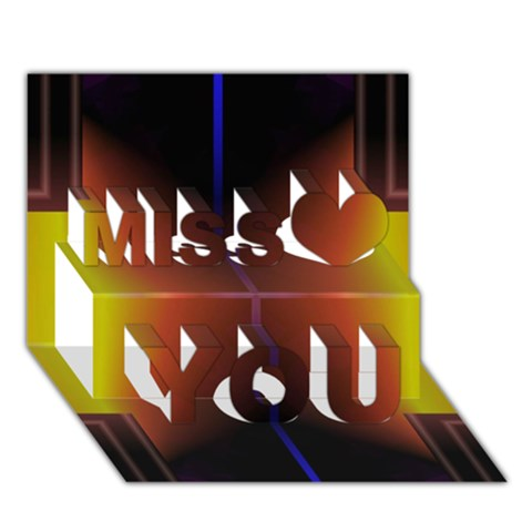 Abstract Painting Miss You 3D Greeting Card (7x5)