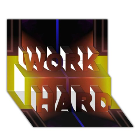 Abstract Painting WORK HARD 3D Greeting Card (7x5)