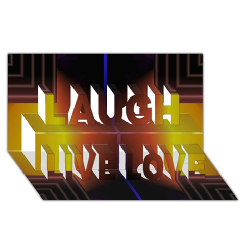 Abstract Painting Laugh Live Love 3D Greeting Card (8x4)