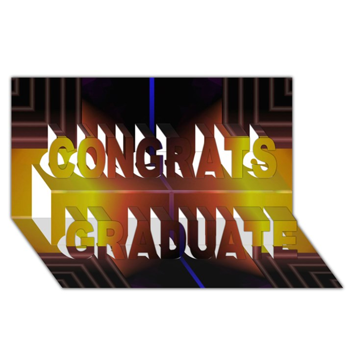Abstract Painting Congrats Graduate 3D Greeting Card (8x4)