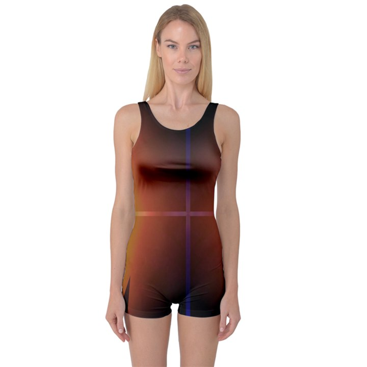 Abstract Painting One Piece Boyleg Swimsuit