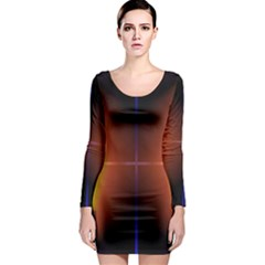 Abstract Painting Long Sleeve Bodycon Dress