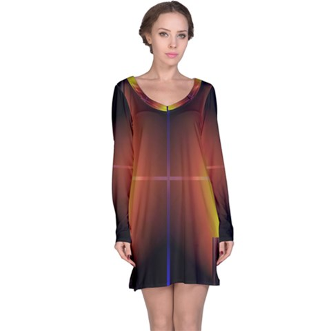 Abstract Painting Long Sleeve Nightdress
