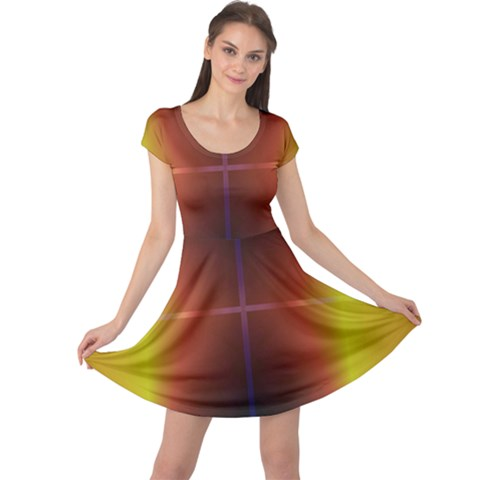 Abstract Painting Cap Sleeve Dresses