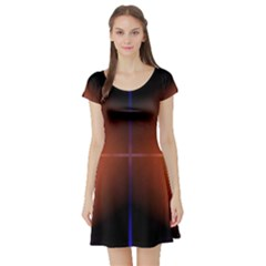 Abstract Painting Short Sleeve Skater Dress