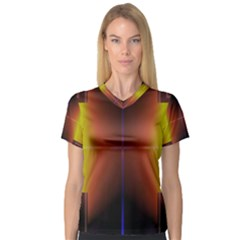 Abstract Painting Women s V-Neck Sport Mesh Tee