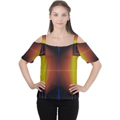 Abstract Painting Women s Cutout Shoulder Tee