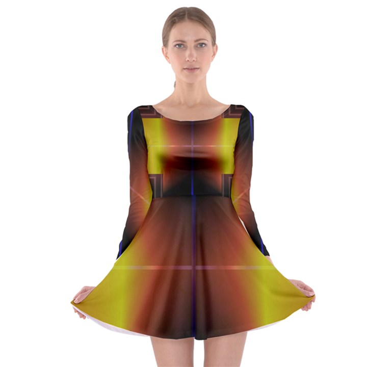 Abstract Painting Long Sleeve Skater Dress