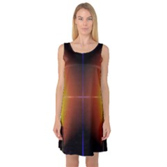 Abstract Painting Sleeveless Satin Nightdress