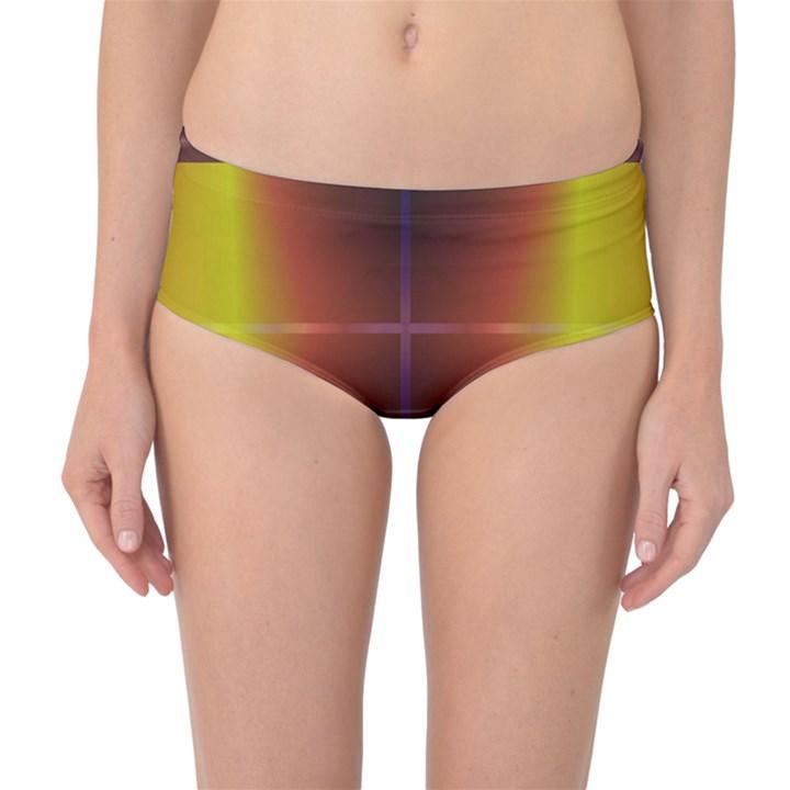 Abstract Painting Mid-Waist Bikini Bottoms
