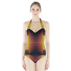 Abstract Painting Halter Swimsuit